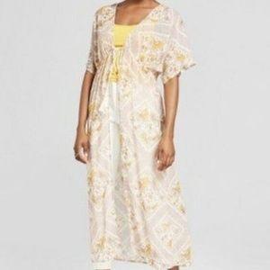 Xhilaration Tie Front Duster Kimono Ivory Print